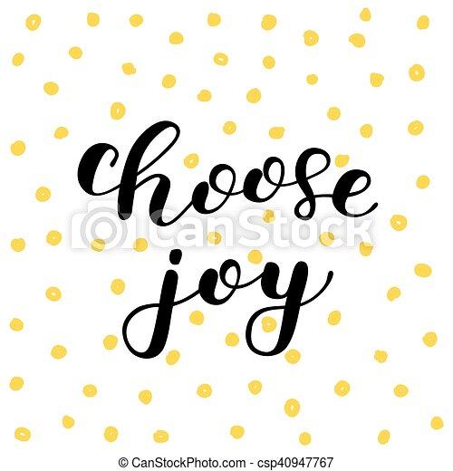 joy., lettering., escolher, escova - csp40947767