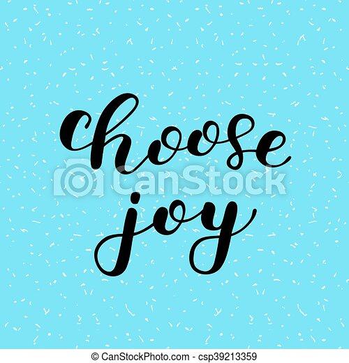 joy., lettering., escolher, escova - csp39213359