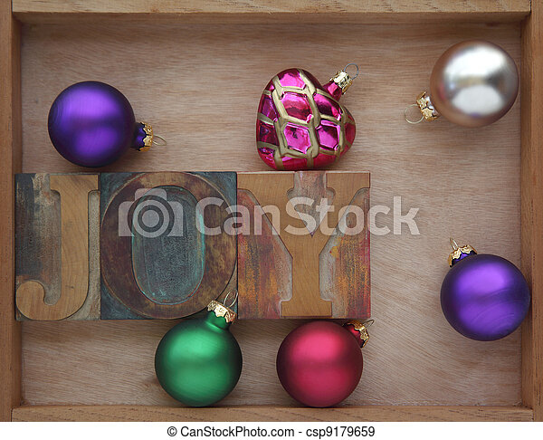 joy word with ornaments - csp9179659
