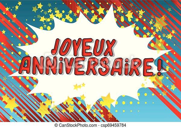 ¡Aniversario Joyeux! (Feliz cumpleaños en francés) - csp69459784