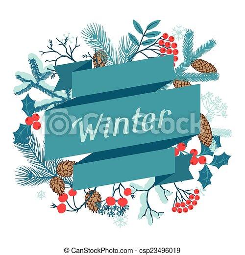 joyeux, branches., hiver, stylisé, fond, noël - csp23496019