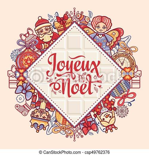 Feliz Navidad francesa Joyeux noel. Tarjeta de Navidad - csp49762376
