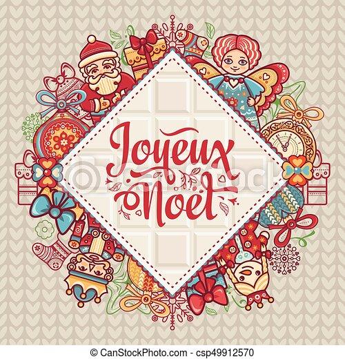 Feliz Navidad francesa Joyeux noel. Tarjeta de Navidad - csp49912570