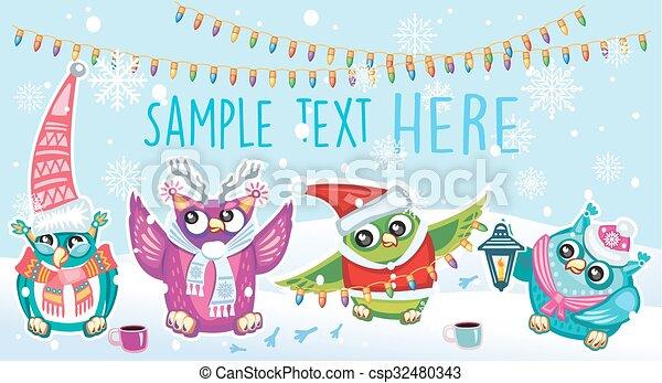 joyeux, hiboux, noël carte - csp32480343