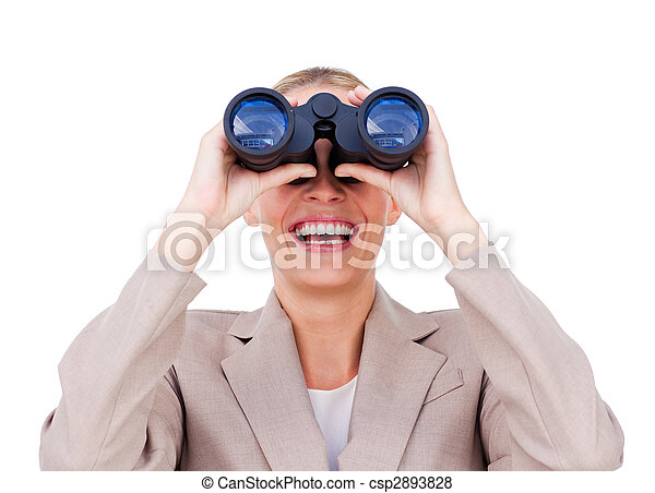 Joyful businesswoman predicting future success through binoculars isolated on a white background - csp2893828