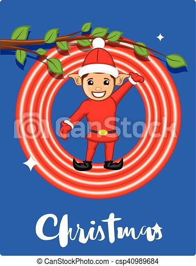 joyful elf christmas greeting card csp40989684 - Elf Christmas Card