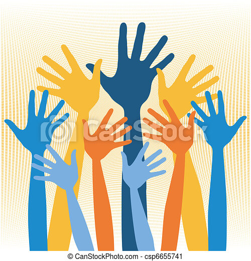 Joyful group of hands illustration. - csp6655741