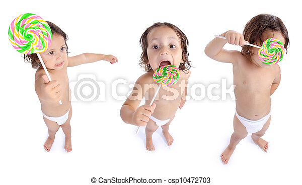 joyful little boy with candy - csp10472703