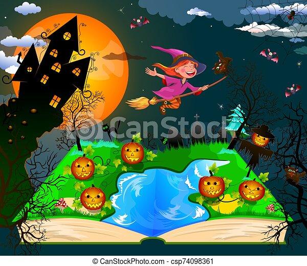 Joyful little witch flies on a broomstick - csp74098361
