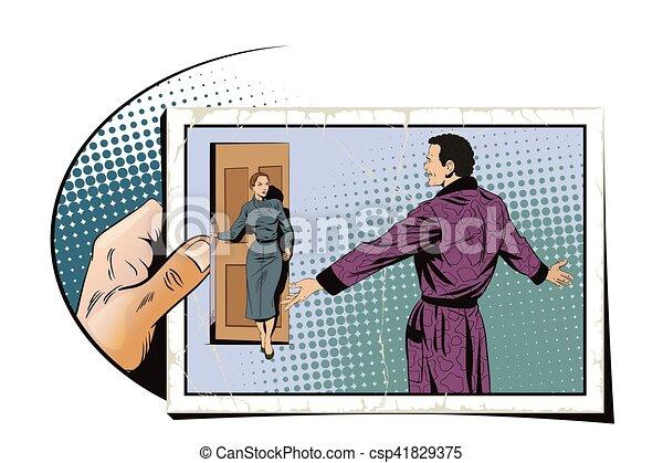 Joyful man meets a girl. Hand with photo. - csp41829375