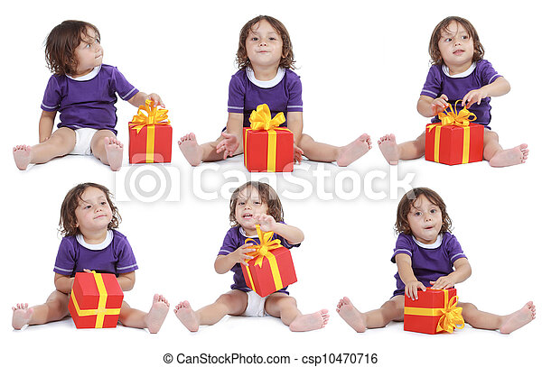 Joyful man with present box - csp10470716