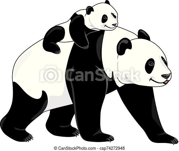 Joyful panda mom and her baby - csp74272948