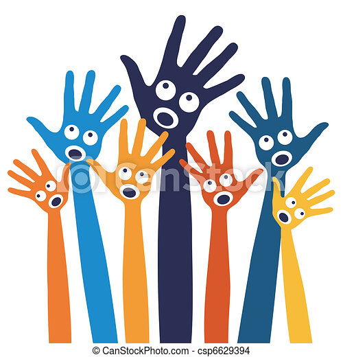 Joyful singing people hands.  - csp6629394