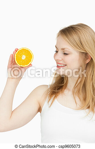 Joyful woman holding an orange - csp9605073