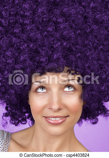 Joyful woman with funny hair coiffure - csp4403824