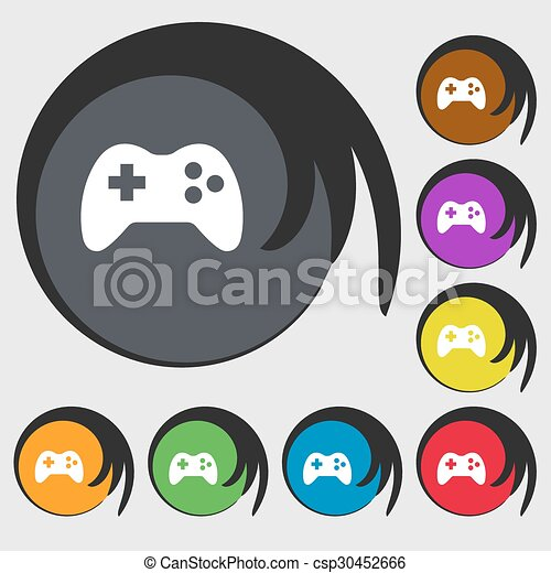 Joystick Sign Icon Video Game Symbol Symbols On Eight Colored
