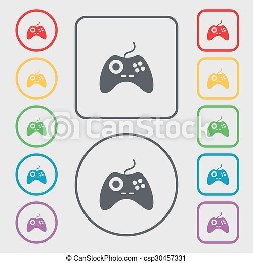 Joystick Sign Icon Video Game Symbol Symbols On The Round And