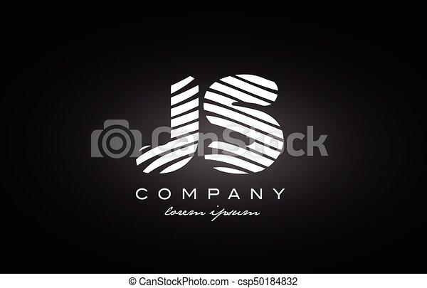 Js J S Letter Alphabet Logo Black White Icon Design Js J S Letter