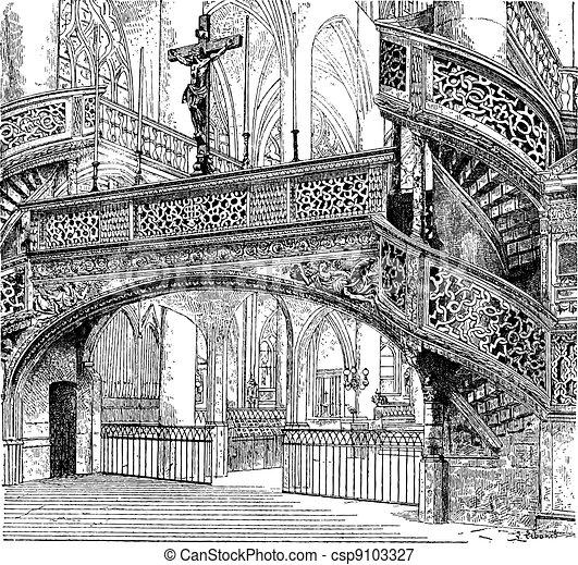 Jube, church of Saint-Etienne-du-Mont, Paris, France, vintage engraving. - csp9103327