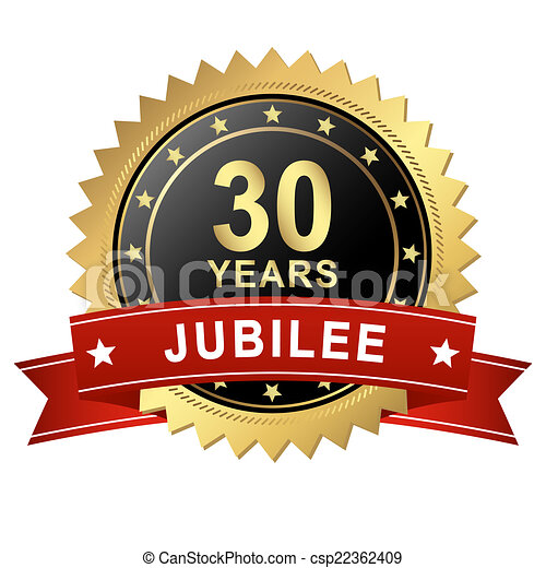 Jubilee Button with Banner - 30 YEARS - csp22362409