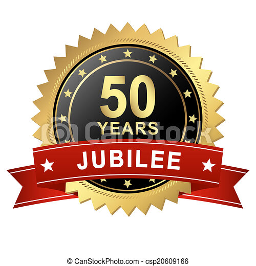 Jubilee Button with Banner - 50 YEARS - csp20609166