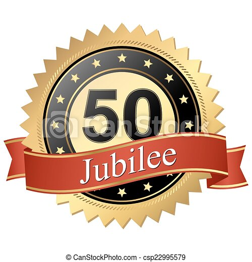 Jubilee button with banners - 50 years - csp22995579
