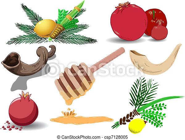 Los símbolos de las vacaciones judías están llenos - csp7128005