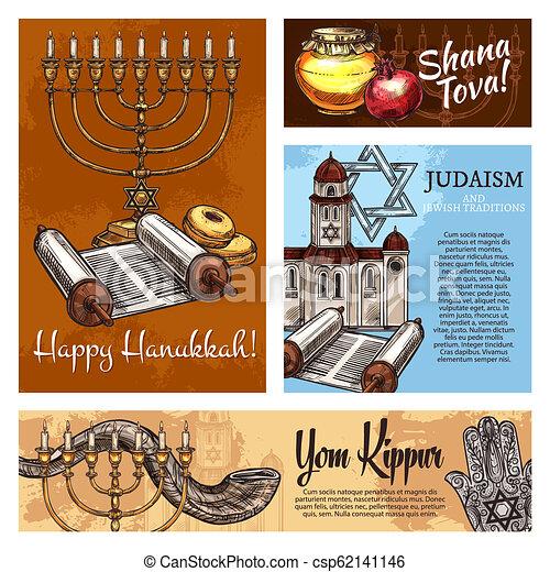 Judaísmo, vacaciones religiosas judías, vector - csp62141146