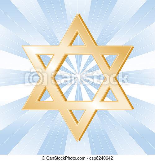 Simbolo del judaísmo, estrella de David - csp8240642