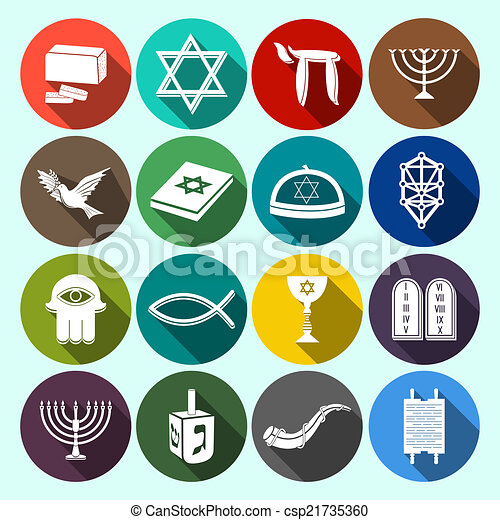 Judaism Icons Set Flat Jewish Church Traditional Religious Symbols