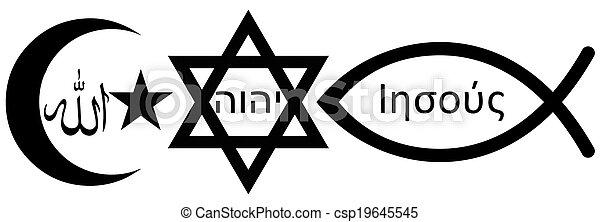Judaism, Islam and Christianity - csp19645545