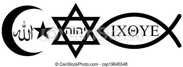 Judaism, Islam and Christianity - csp19645548