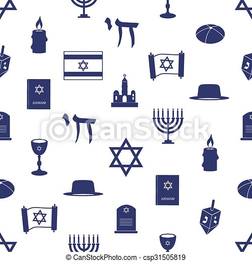 judaism religion symbols seamless blue pattern eps10 - csp31505819