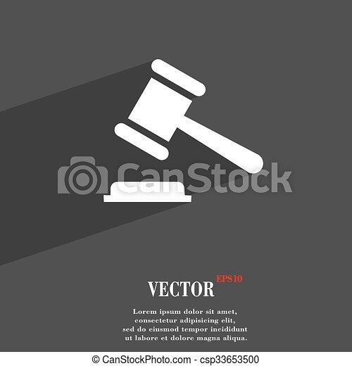 Judge Or Auction Hammer Symbol Flat Modern Web Design With Long