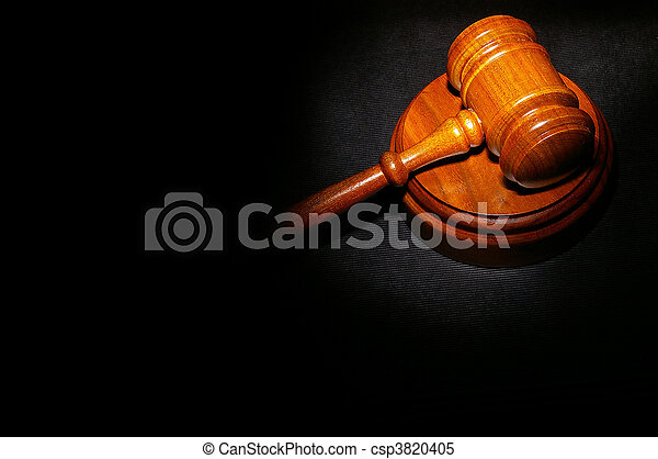 judge\'s legal gavel on a law book - csp3820405
