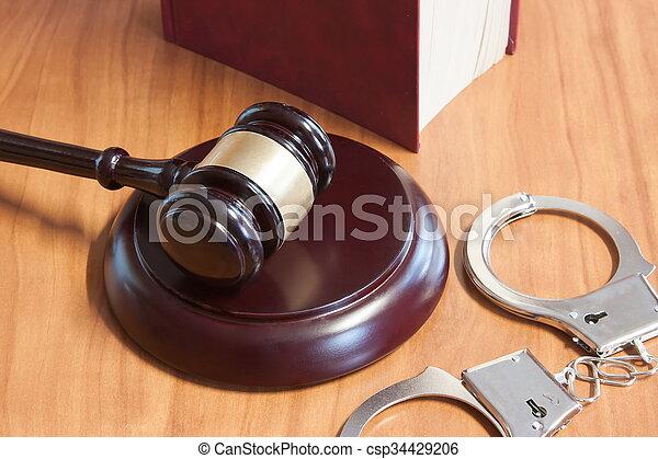 judiciaire, codes, lois, menottes, marteau - csp34429206