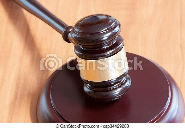judiciaire, table, marteau, bois - csp34429203