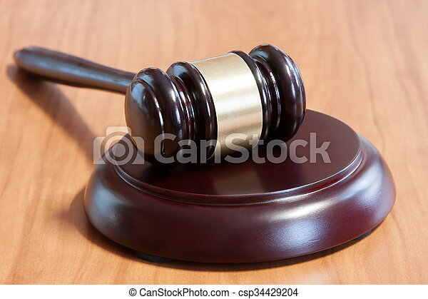 judiciaire, table, marteau, bois - csp34429204