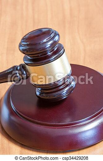 judiciaire, table, marteau, bois - csp34429208
