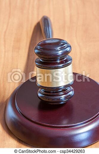 judiciaire, table, marteau, bois - csp34429263