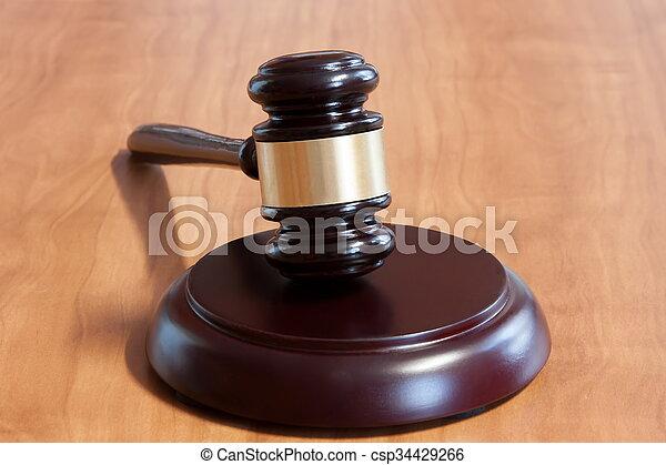 judiciaire, table, marteau, bois - csp34429266