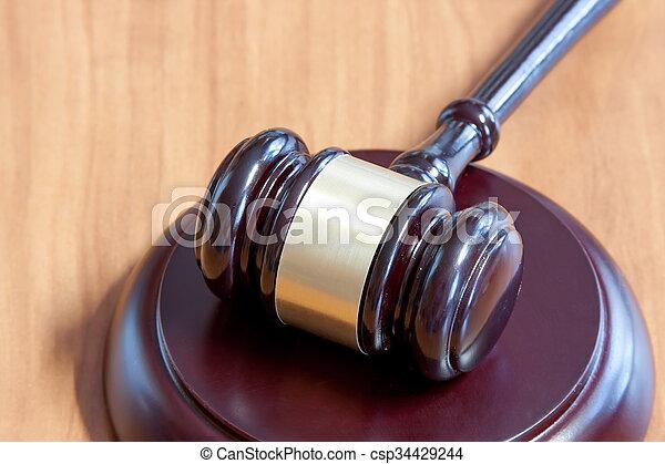 judiciaire, table, marteau, bois - csp34429244