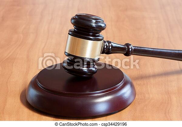 judiciaire, table, marteau, bois - csp34429196