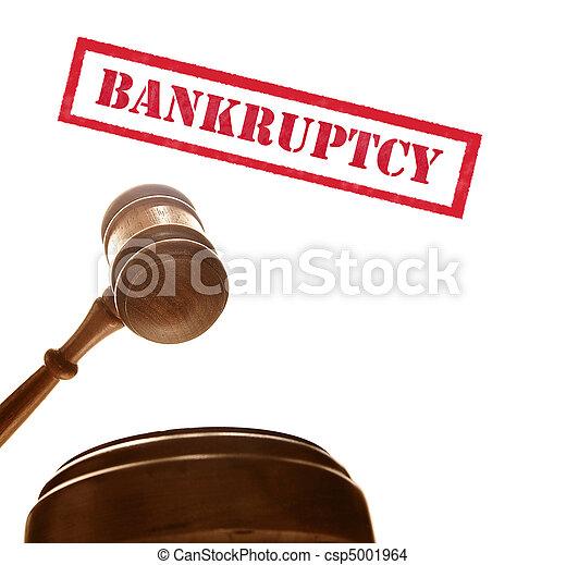 Jueces el mazo de la corte con texto de quiebra, en blanco - csp5001964