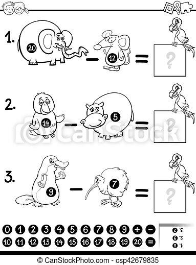 Juego De Resta Para Colorear Ilustracion De Dibujos Animados En