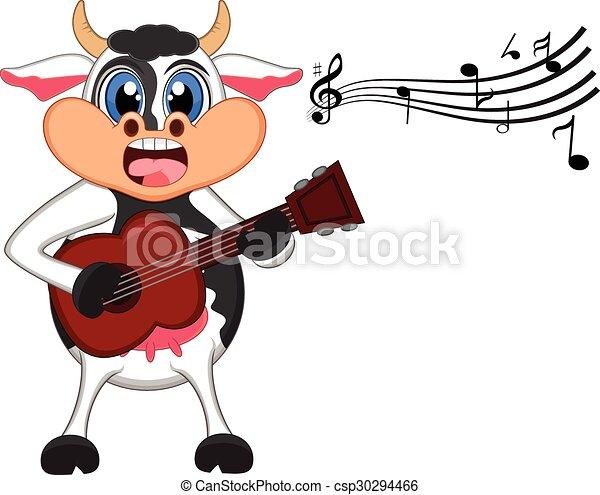 Vaca tocando dibujos de guitarra - csp30294466