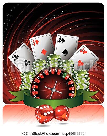 Ilustración de apuestas con elementos de casino - csp49688869