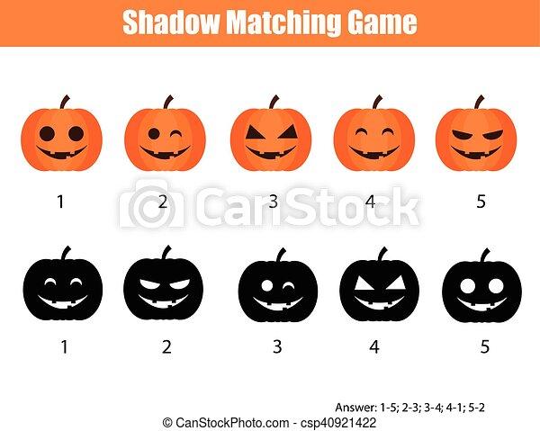 Juego, halloween, tema, calabazas, sombra, emparejar. Emparejar ...