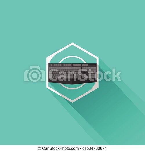 Equipo de juego teclado icono plano - csp34788674