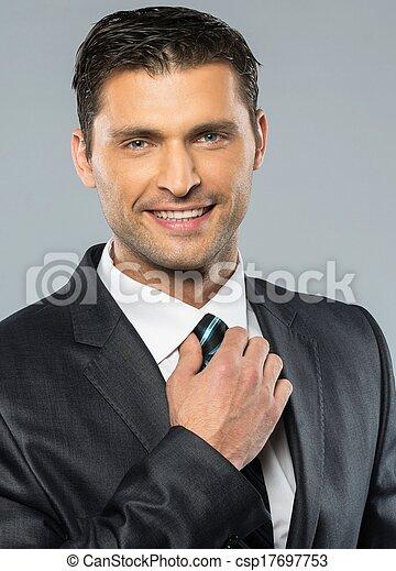 Juego Negro Corbata Hombre Bien Vestido Guapo